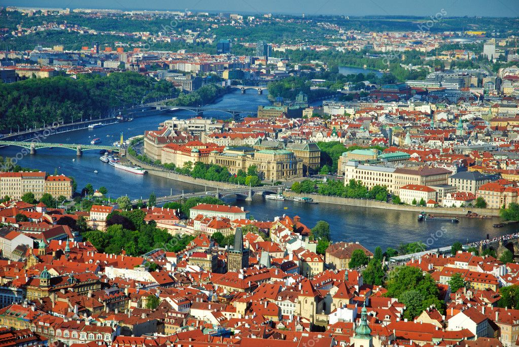 View of city and river Vltava in Prague