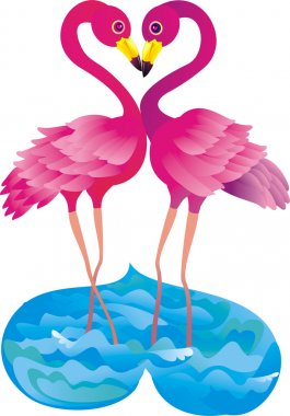 Two pink flamingos making love stock vector