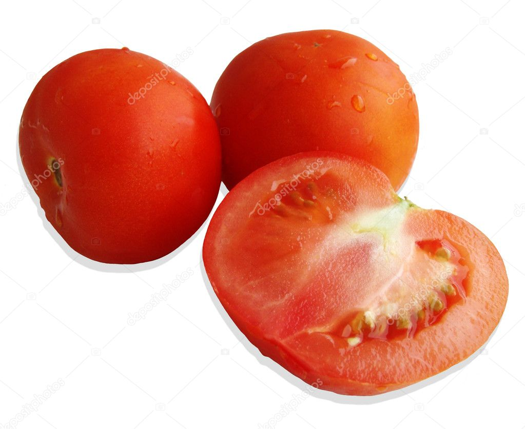 Tomatoes on a white