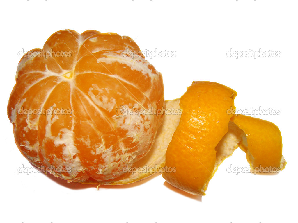 The ripe cleared orange mandarin