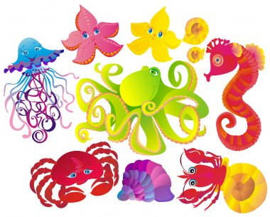 Many sea animals, vector illustration