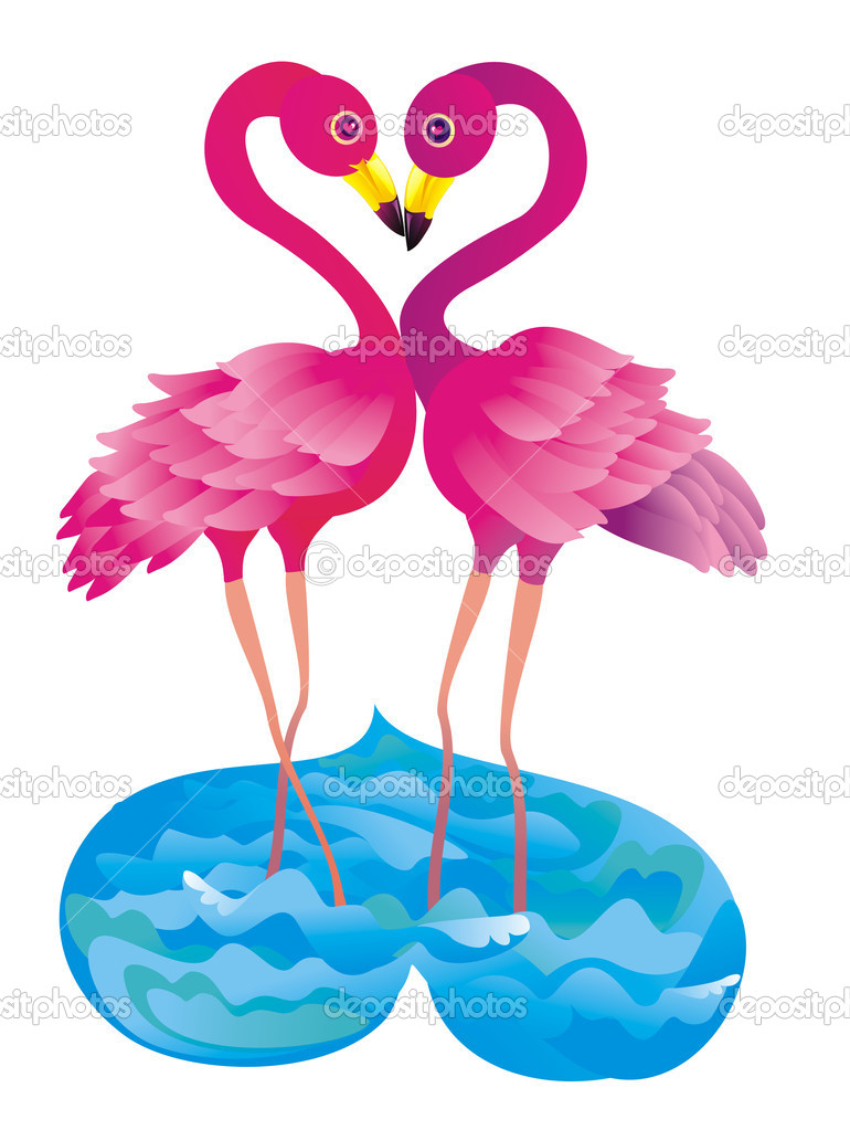 Flamingo kissing. Vector illustration