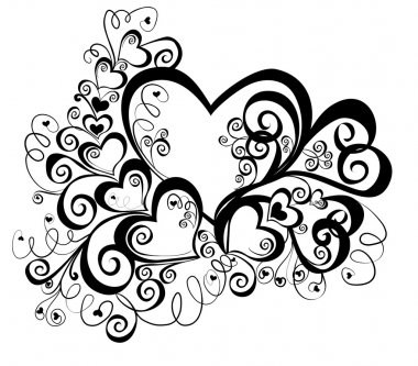 Heart with floral ornament, Element for design, vector image clip art vector