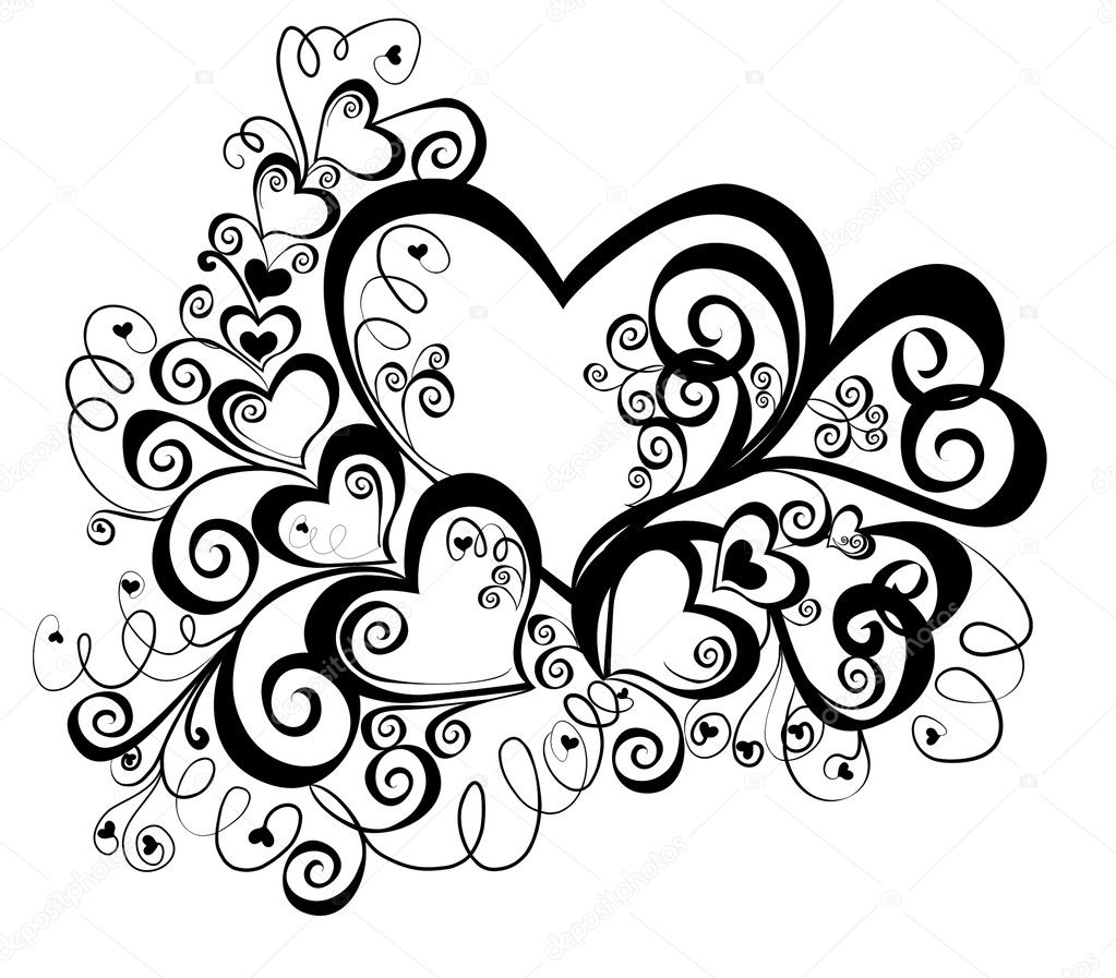 Heart with floral ornament, vector