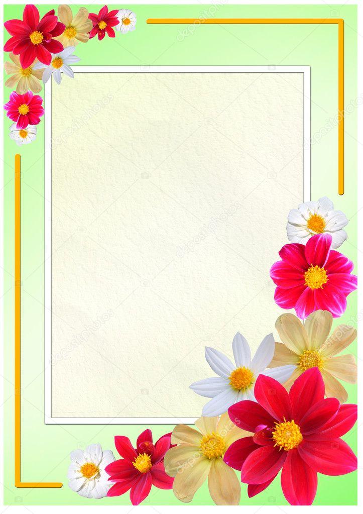 Flowered frame for greeting