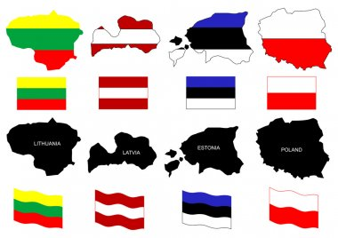 Baltic countries maps with flags