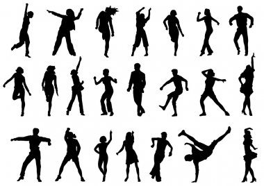 Dancing in action vector