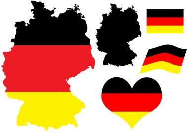 Germany map with flag and heart