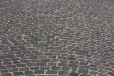 Old medieval granite cobble road