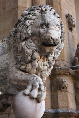 Old lion sculpture