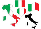 Italy map with flag and heart