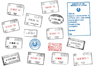 Set of different passport visa stamps vector illustration clip art vector