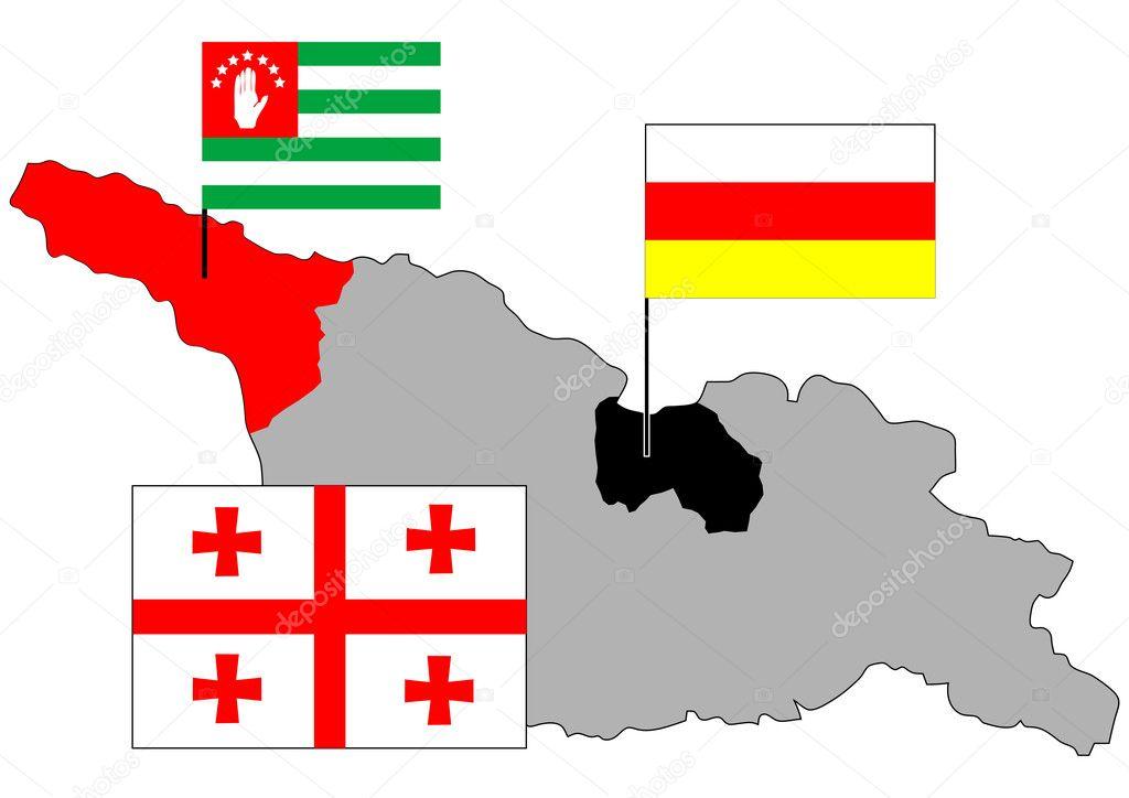 Georgia, Abkhazia, Ossetia maps