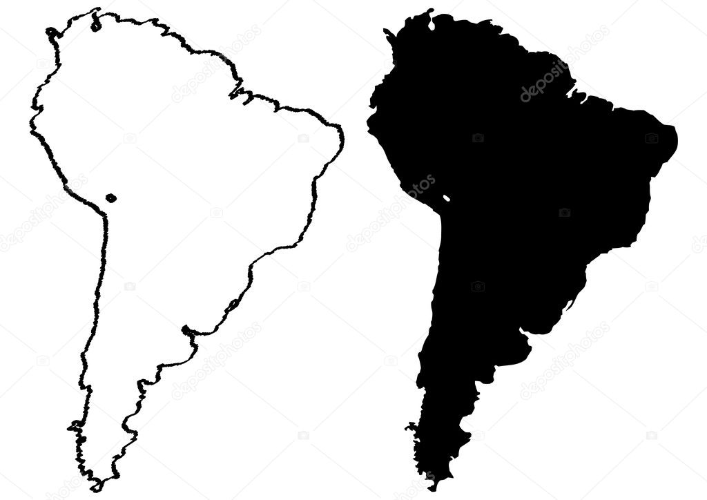 Map of South America illustration