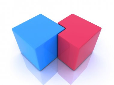 Union of blue and red cube