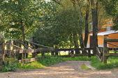 Fotografia una bella vista di un antico giardino fienile