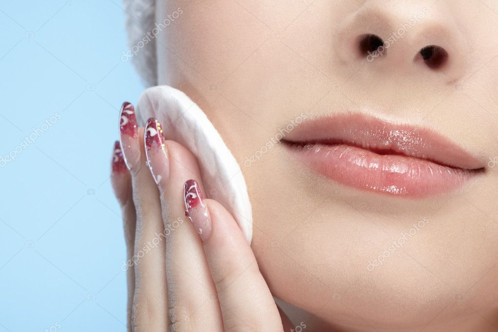Girl with cotton pad