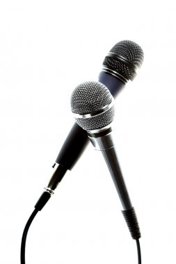 Two microphones isolated on the white background stock vector