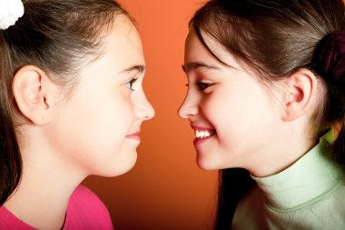 Two funny young girls look at each other stock vector