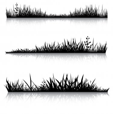 Silhouettes of grass with the reflection. Illustration conducted was used as the dummies for your composition. stock vector