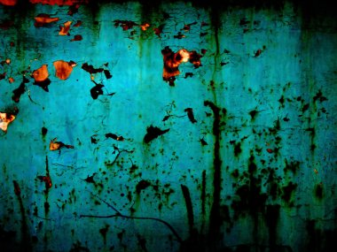 Acid blue and rusty background