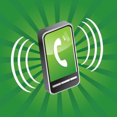 Mobile phone calling - vector illustration clip art vector