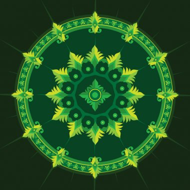Ethnic pattern in green color