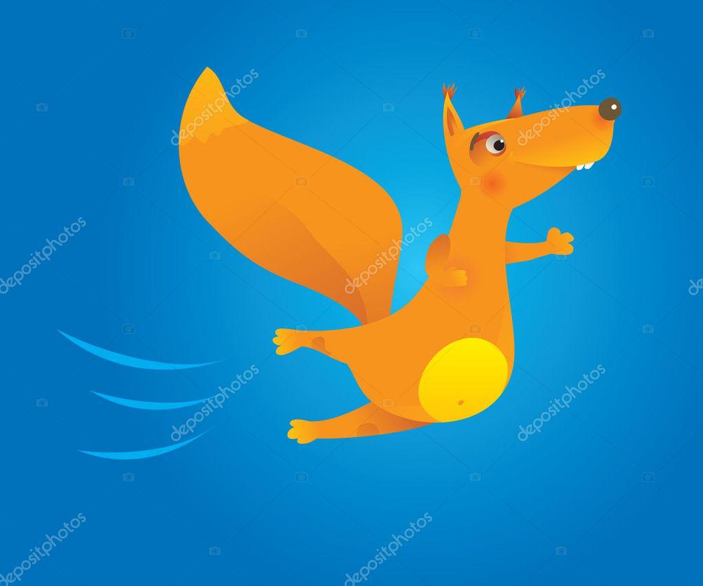 Coraggioso scoiattolo volante di cartone animato