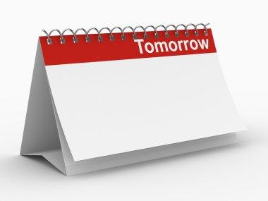 Calendar for tomorrow on white
