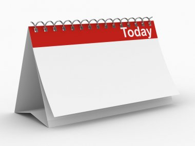 Calendar for today on white background.