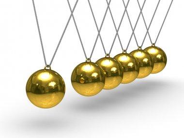 Balancing spheres on white background