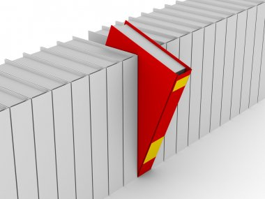 One unique red book. Isolated 3D image