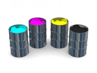 Paint CMYK in vats. Isolated 3D image