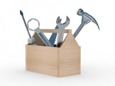 Wooden box with tools. Isolated 3D image