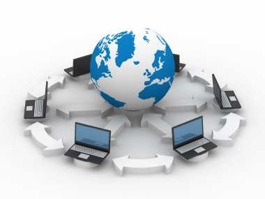 Global network the Internet. Isolated 3D