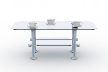 Glass little table on a white background