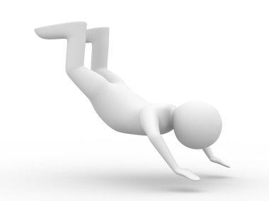 Falling man on white background