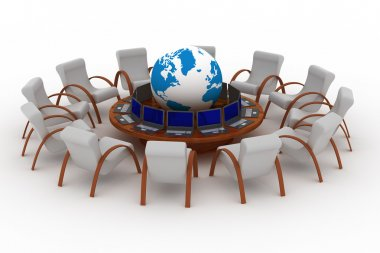 Twelve workplaces behind a round table