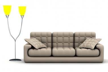 Floor lamp and sofa on a white