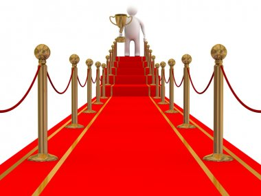 Winner on a red carpet path