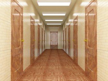 Corridor with a number of doors