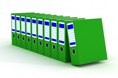 Row of green folders with documents