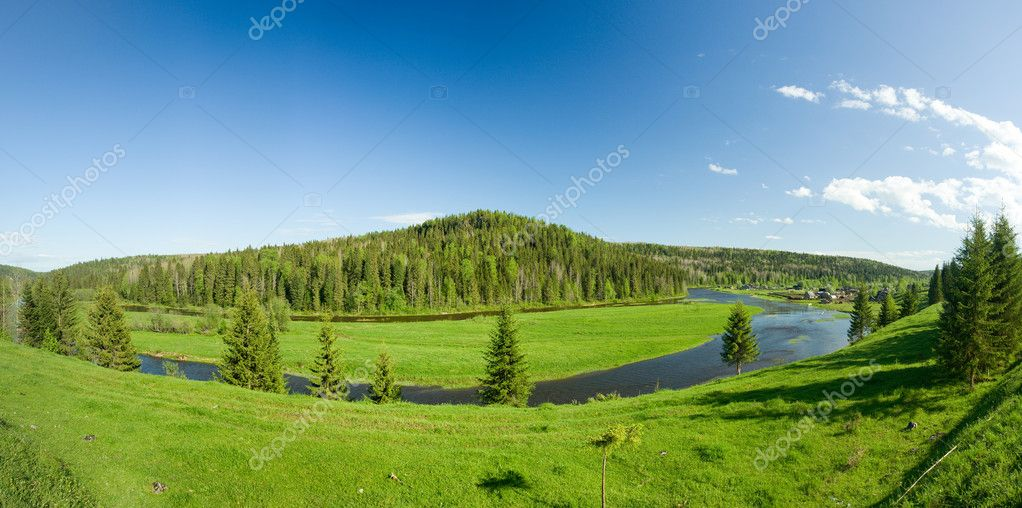Summer landscape. Village on river