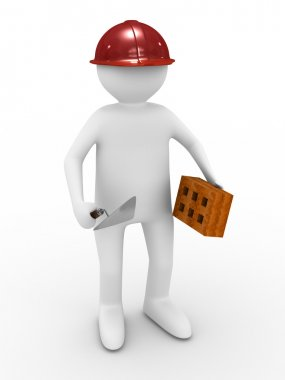 Builder on white background