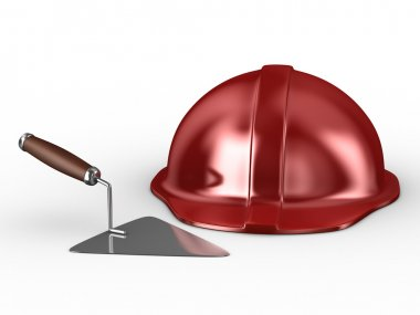 New construction trowel and red helmet