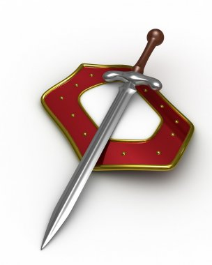 Sword and shield on white background