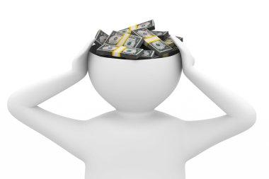Businessman thinks of money
