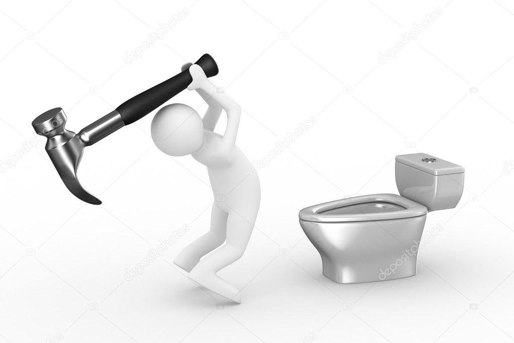 Sanitary technician repairs toilet bowl
