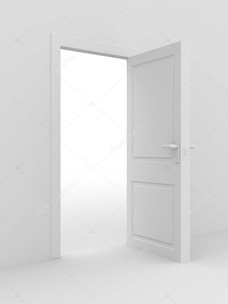 White Open Door 3d Image Home Interior Stock Photo