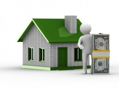 Real estate sale. Isolated 3D image